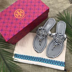 Tory Burch | Miller Navy White Striped Patent 7.5